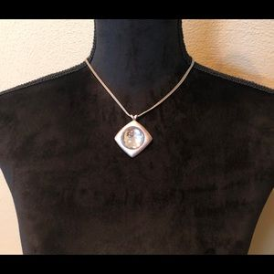Jewelry - Silver tone necklace with glass cabochon & VJ TAG